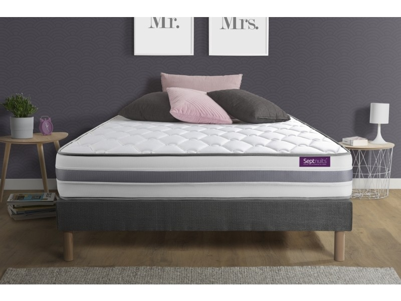 matelas sommier gris 140x200 memo spring ressorts ensach s 3 zones de confort maxi paisseur. Black Bedroom Furniture Sets. Home Design Ideas