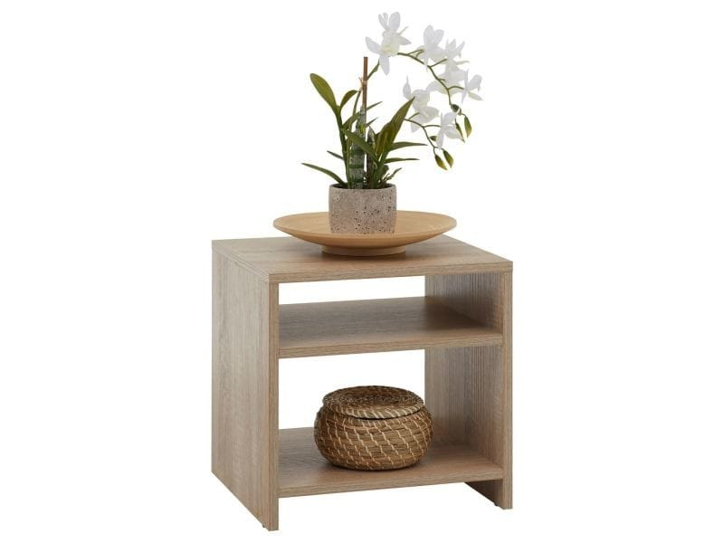 table d 39 appoint livorno table de chevet avec 2 tablettes m lamin d cor ch ne sonoma vente de. Black Bedroom Furniture Sets. Home Design Ideas