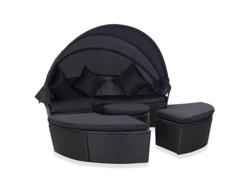 Joli mobilier de jardin collection victoria chaise longue de jardin avec auvent résine tressée noir