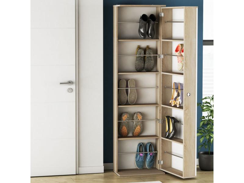 Armoire à chaussures miroir - sko - l 50 x l 29,4 x h 181,5 cm