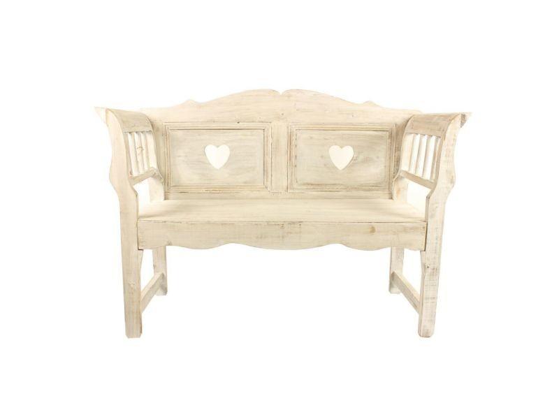 Banc bois cerusé blanc 124x46x90cm - décoration d'autrefois