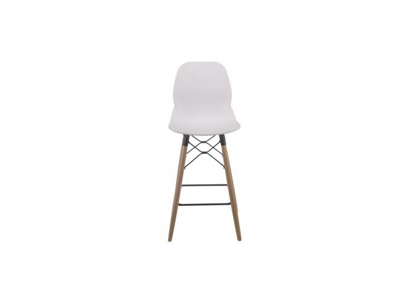 Lot de 4 chaises de bar design blanche et bois cocoon