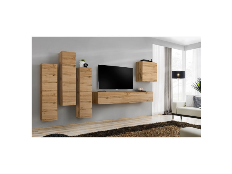 Ensemble mural - switch iii - 3 vitrines verticales - 1 banc tv - 1 vitrine carrée - bois