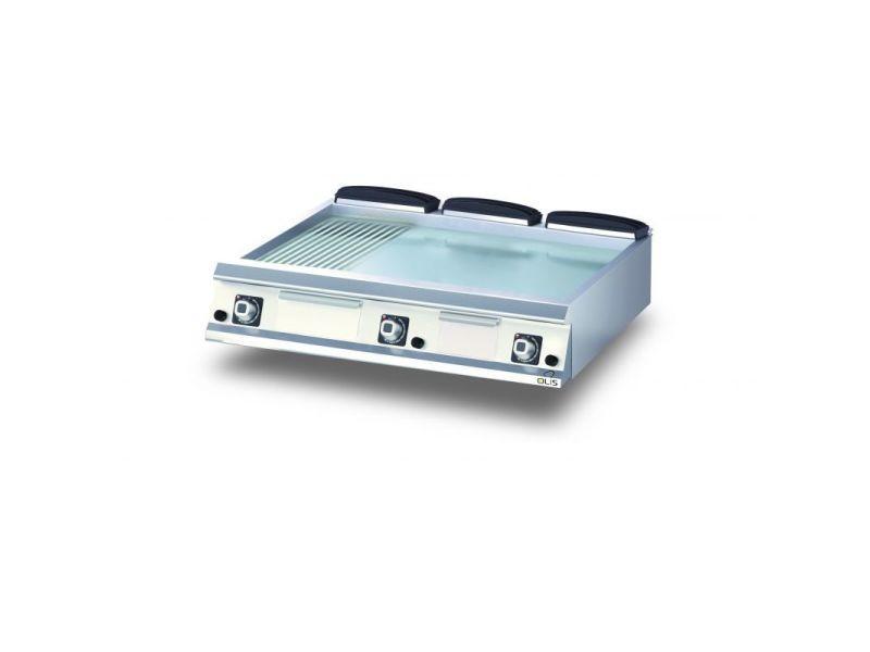 Plancha gaz 1/3 rainurée chromée diamante 90 - 600 à 1200 mm - olis - chromé 1200 mm