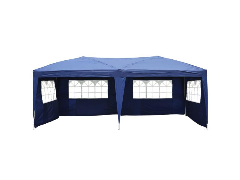 Tonnelle tente de reception pliante pavillon chapiteau barnum 3 x 6 m bleu cotes demontables