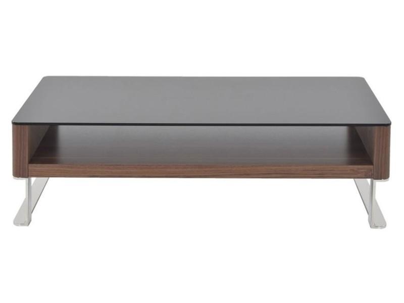 Table basse bois et verre kary - noyer/transparent - bois foncé