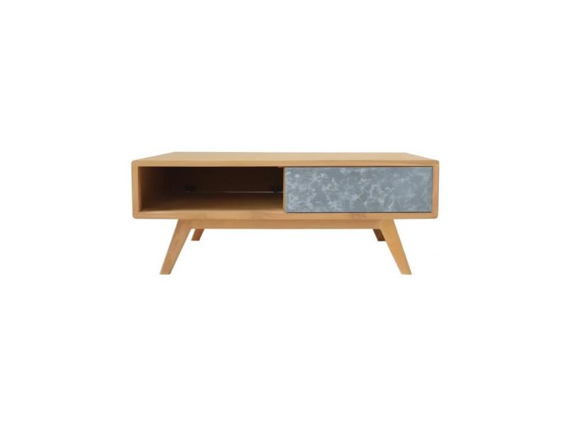 Dana table basse style scandinave en bois teck massif naturel et effet beton - l 65 x l 120 cm