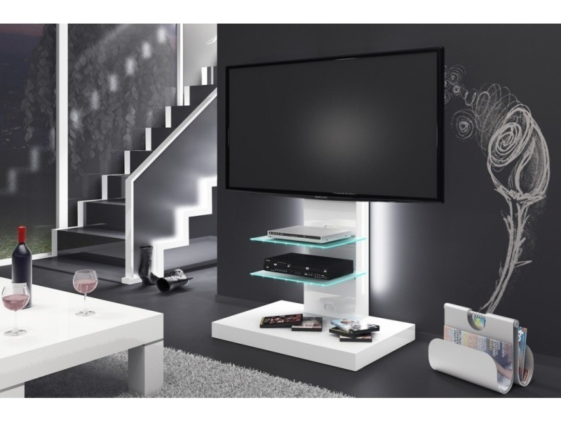 Meuble tv design led - blanc laque