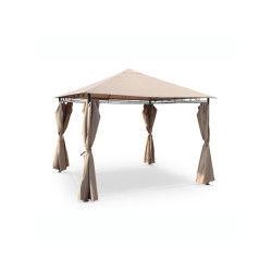 Tente de jardin pergola 3x3m tolosa toile taupe barnum tonnelle chapiteau réception