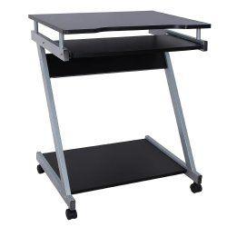 Bureau table meuble informatique avec tablette clavier noir 0512001