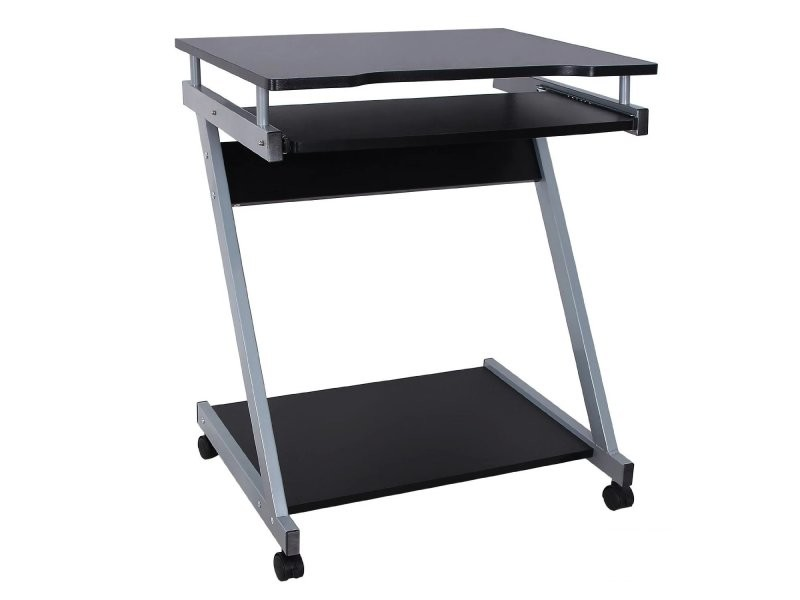 Bureau table meuble informatique avec tablette clavier for Meuble de bureau noir