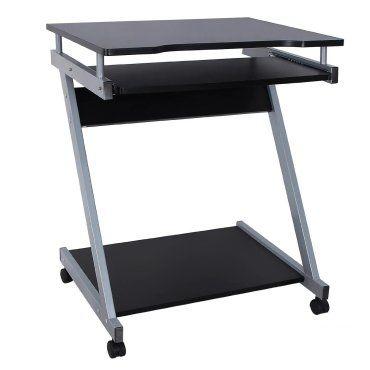 Bureau table meuble informatique avec tablette clavier noir
