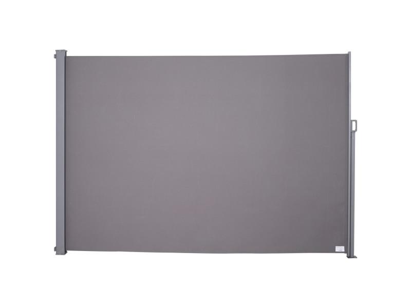 Store latéral brise-vue paravent rétractable dim. 3l x 1,60h m alu. Polyester anti-uv haute densité 280 g/m² gris