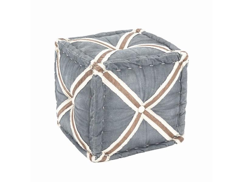 Pouf en tissu optique coloris gris - 46 x 46 x 44 cm -pegane-
