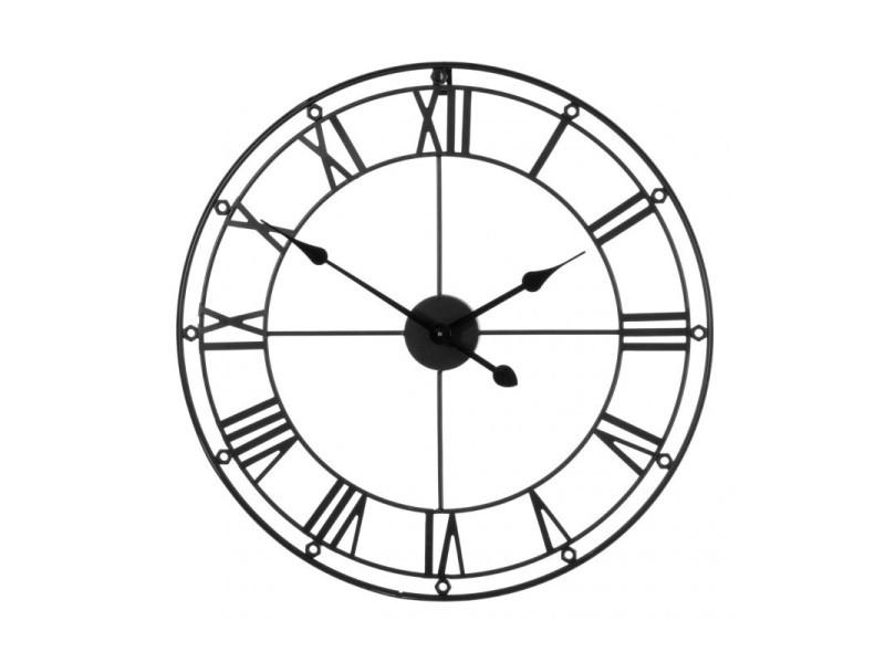 Grande horloge murale ronde en m tal noir chiffres romains vente de wadiga conforama for Horloge murale grande dimension