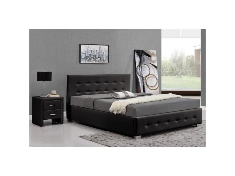 Lit newington - structure de lit capitonnée noir avec coffre de rangement intégré -140x190 cm