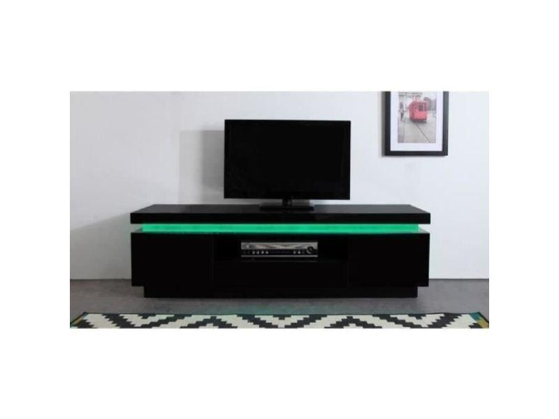 Meuble tv - meuble hi-fi flash meuble tv avec led contemporain noir laqué brillant - l 165 cm