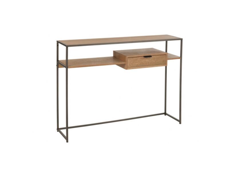 Console 1 tiroir bois double plateaux/metal naturel 10606