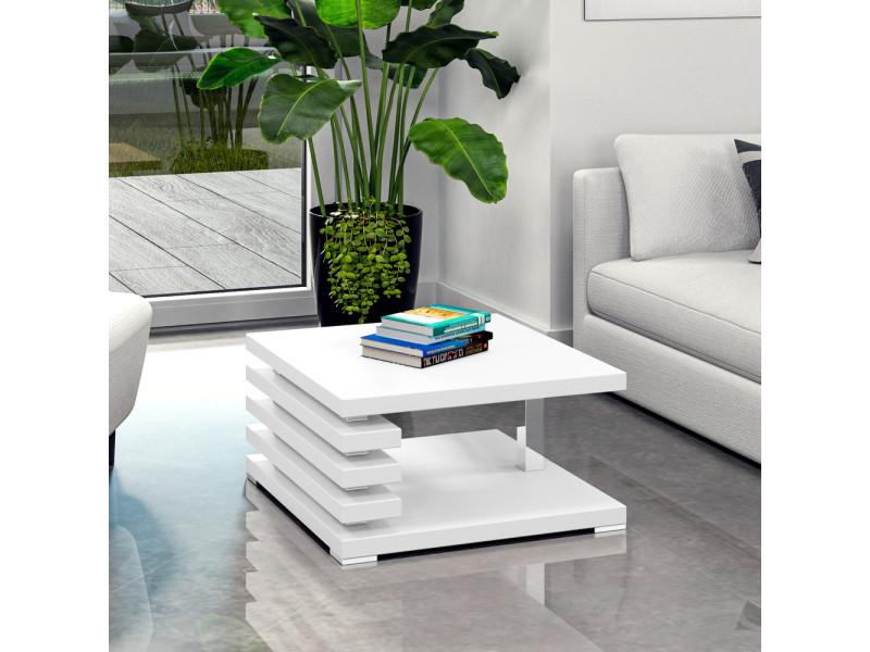 Table basse design - ariene - 60x60 cm - blanc mat