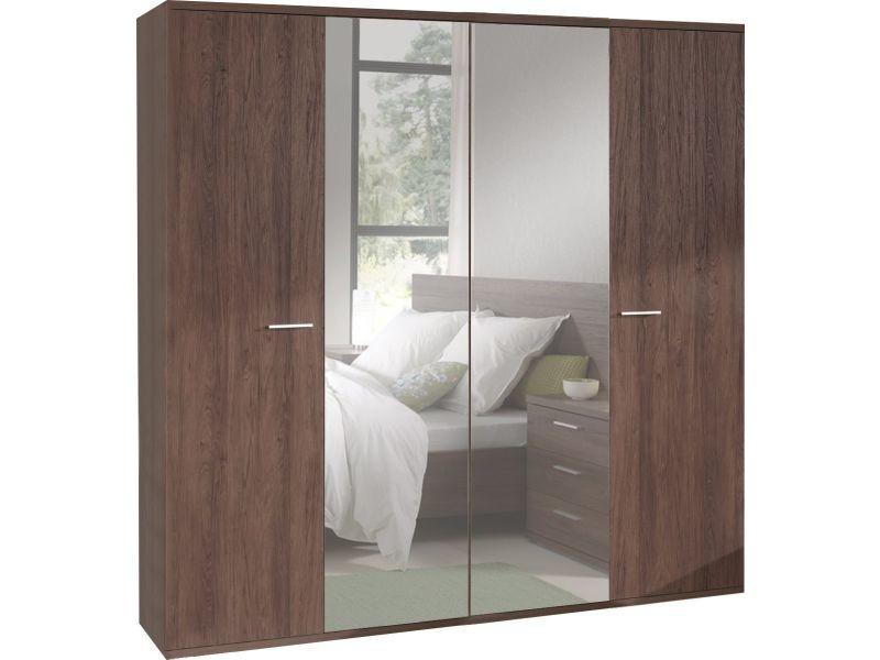 Armoire 200x210 cm 4 portes dont 2 avec miroir coloris - Armoire chambre avec miroir ...