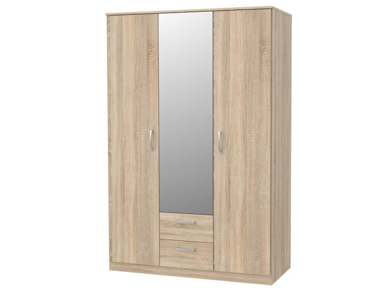 Armoire à 3 portes - niko - miroir - chêne sonoma - scandinave