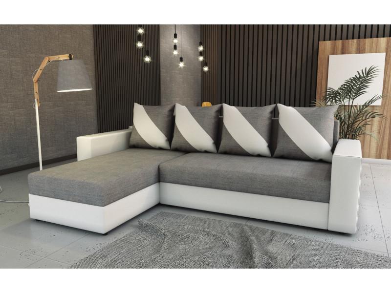 Canapé d'angle convertible huli gris clair/blanc