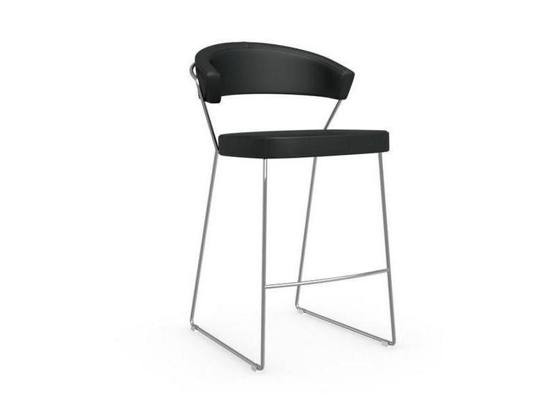 Chaise de bar new york design italienne structure acier chromé assise cuir noir 20100841577