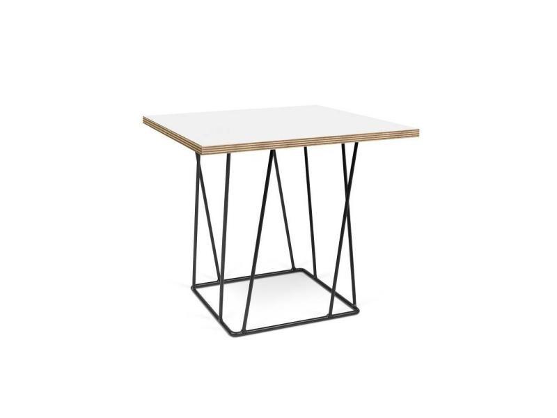 Table basse helix 50 plateau blanc mat/bois structure laquée noire 20100868188