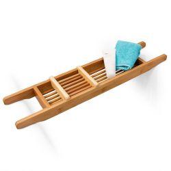 Pont de baignoire salle de bain rangement en bois de bambou hxlxp : 6,5 x 69 x 14 cm bougie livre verre accessoires de douche produits détente relaxation, nature