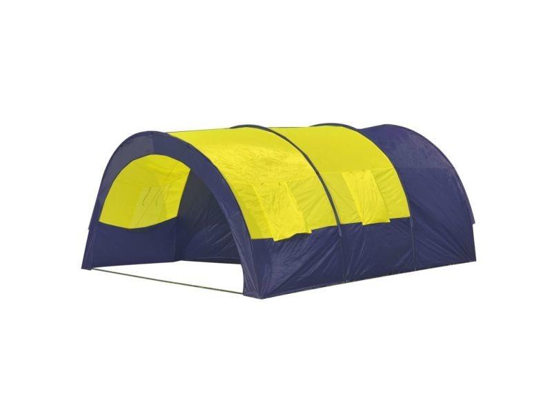 Icaverne - tentes gamme tente dôme familiale 6 places bleue et jaune
