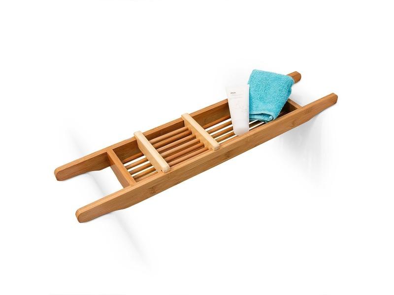 pont de baignoire salle de bain rangement en bois de bambou hxlxp 6 5 x 69 x 14 cm bougie. Black Bedroom Furniture Sets. Home Design Ideas