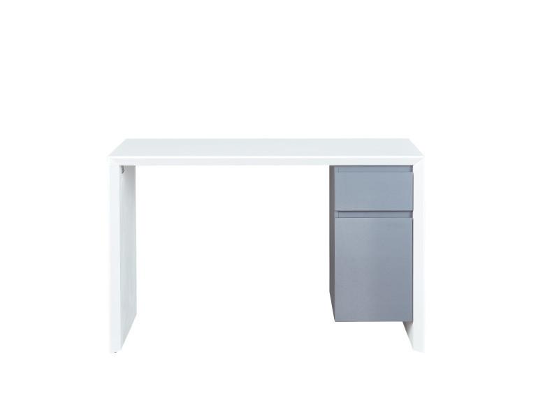 Megara - bureau megara tiroir de rangement et placard blanc laqué et gris