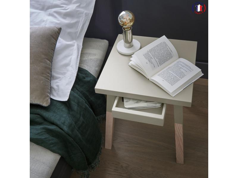 2 chevets laqués, 1 tiroir en frêne 35x35 cm gris muscade - 100% fabrication française