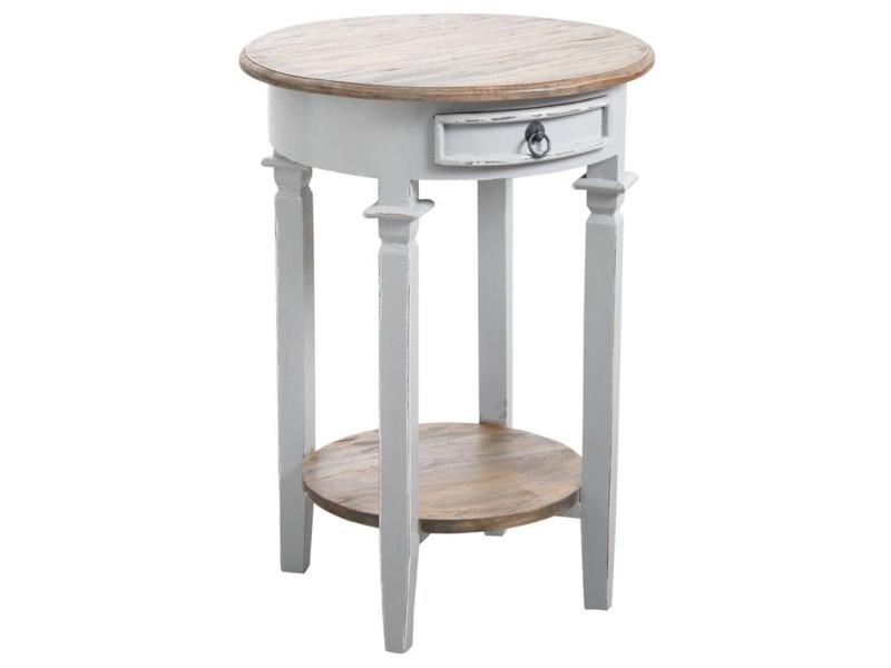 Table d'appoint ronde en bois gris antique - ø 50 x h 70 cm -pegane- PEGANE