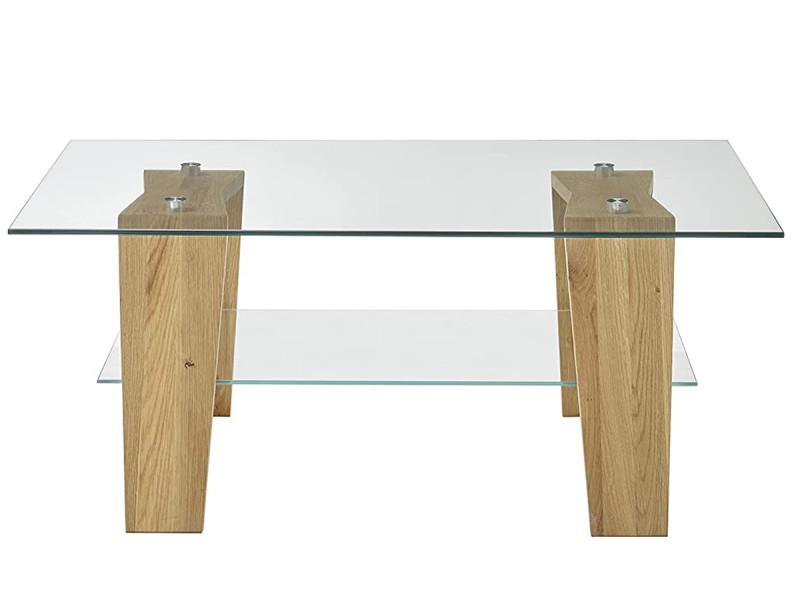 Table basse en verre et chêne massif - l.100 x h.40 x p.65 cm