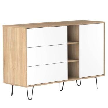 buffet design scandinave lackberg 1 porte 3 tiroirs ch ne naturel 20100866663 conforama. Black Bedroom Furniture Sets. Home Design Ideas