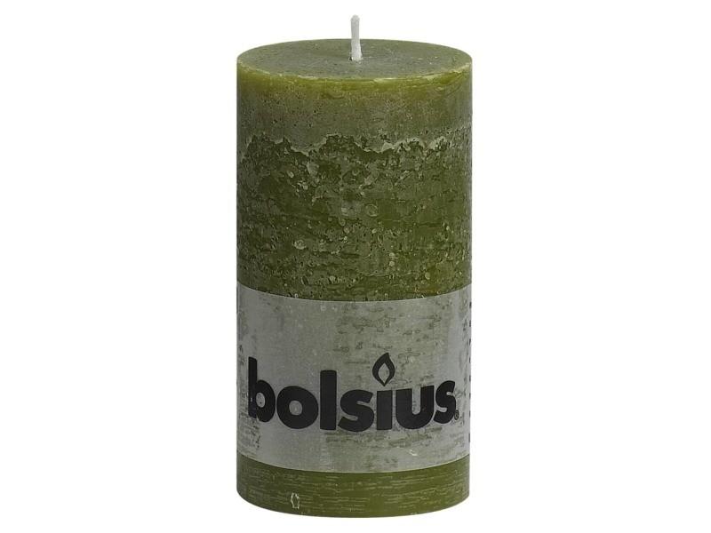Bolsius bougies pilier rustiques 6 pcs 130x68 mm vert olive 428128