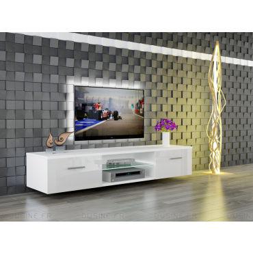meuble led suspendu tv giuliano blanc mat et portes blanc. Black Bedroom Furniture Sets. Home Design Ideas