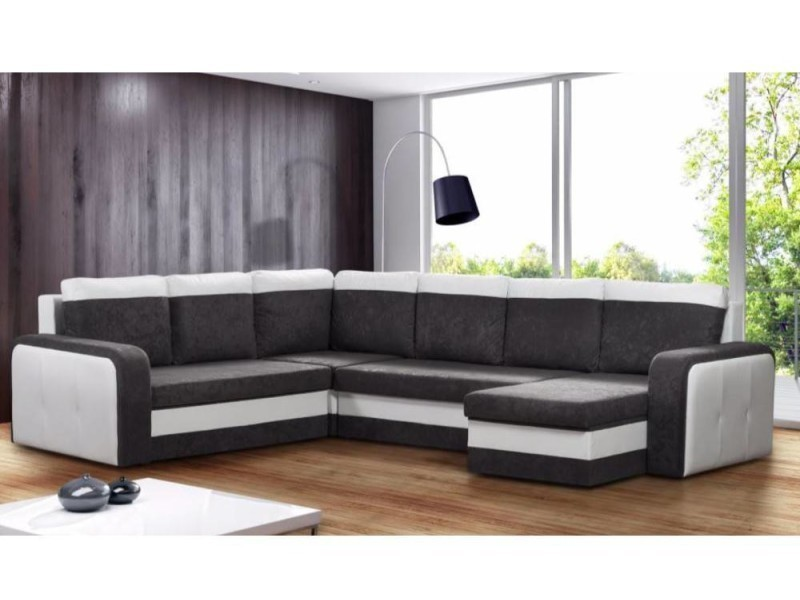 canap convertible rapido nyx angle panoramique en bi mati re noir et blanc 20100865618 conforama. Black Bedroom Furniture Sets. Home Design Ideas