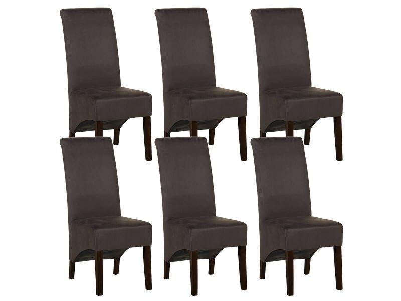 Mirina - lot de 6 chaises tissu gris anthracite