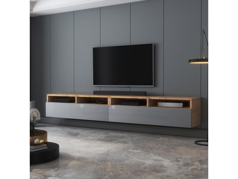 Meuble tv - rednaw - 200 cm - chêne wotan / gris brillant