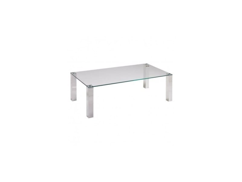 Table basse 120 cm verre et chrome tower