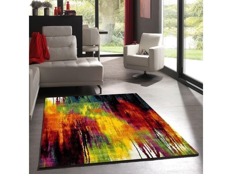 Tapis salon moderne de créateur belo 1 rouge, creme, jaune, vert ...