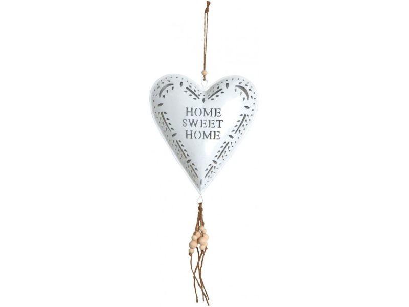 Coeur blanc en métal à suspendre sweet home 19 cm