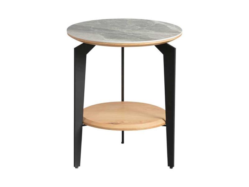 Guéridon double-plateau acier/bois/céramique - tocsa n°2 - l 44 x l 44 x h 45 - neuf
