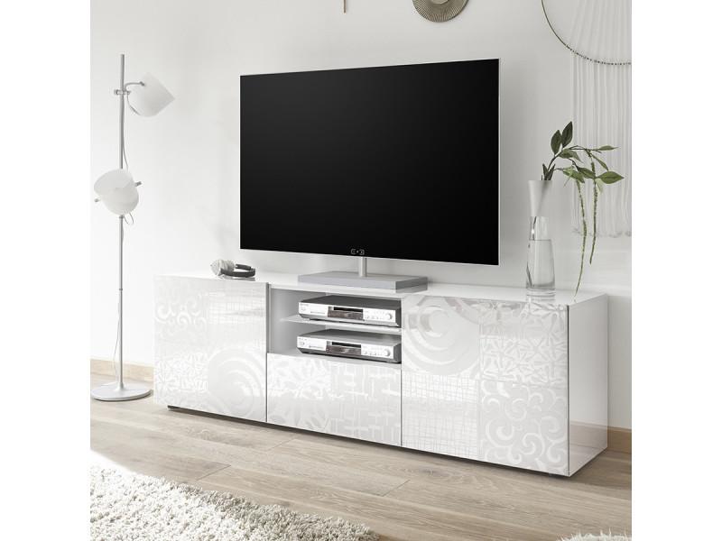 Grand Meuble Tv Blanc Laque Design Elma Vente De