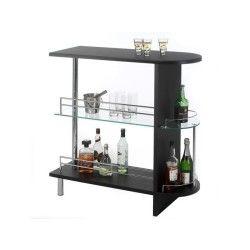 Table haute de bar james mdf décor noir