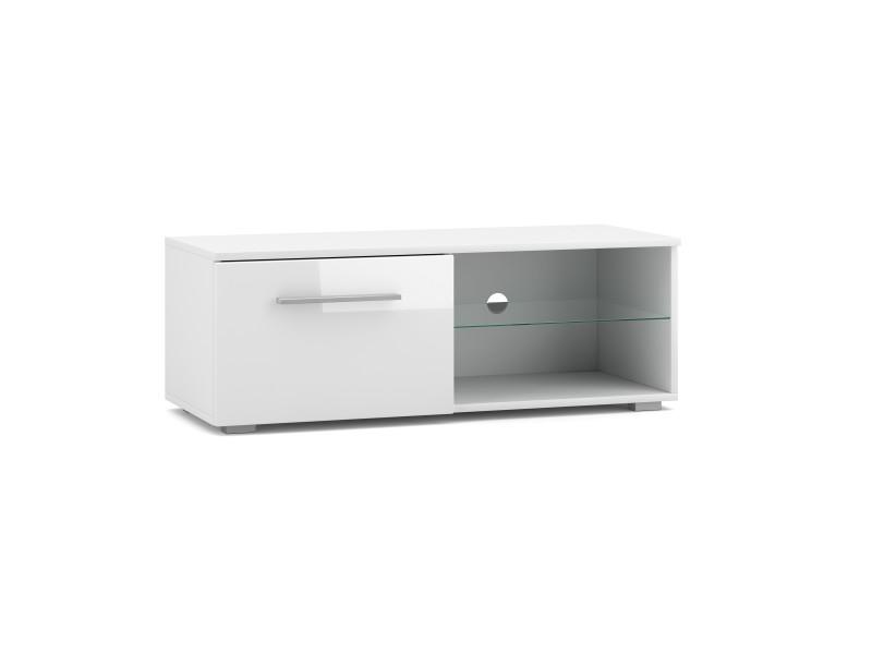 Meuble tv moderniste punes blanc / blanc brillant 200 cm