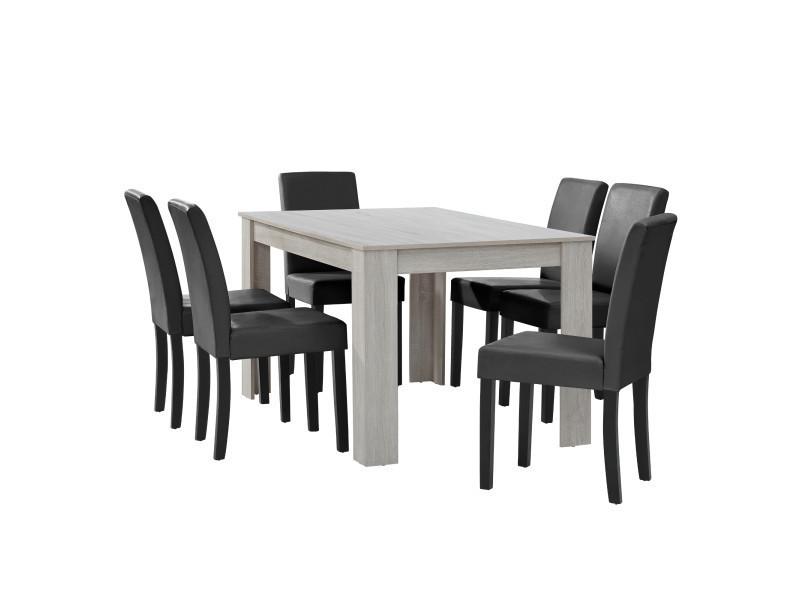[en.casa] table à manger chêne blanc avec 6 chaises gris foncé cuir-synthétique rembourré140x90
