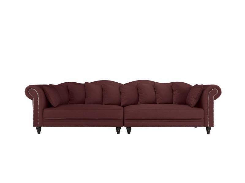 morgane canap double chesterfield xl velours coloris bordeaux vente de canap droit. Black Bedroom Furniture Sets. Home Design Ideas